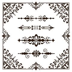 Ornaments elements floral retro corners frames borders stickers art deco design illustration white background