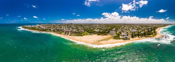 Aerial panoramic images of Dicky Beach, Caloundra, Australia