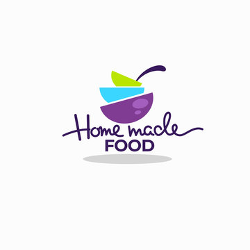 cook home  made food, colorful soup bowls for your menu, logo, emblems and symbols