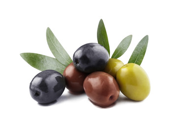 Delicious olives with leaves, isolated on white background Wall mural