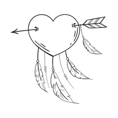 Heart with feathers pierced with an arrow, dreamcatcher as heart. Vector in doodle style. Template for Valentine day. Coloring book.