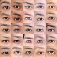 Many Brown Eyes Eyebrows set of Asian Woman 20's in fresh face, with make up in square, Group Pack Collage