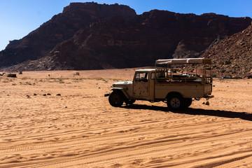 Old jeep track in wadi rum Jordan protected area desert