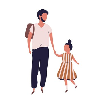 Father leading his pupil daughter to school. Portrait of modern family walking together. Dad and little girl holding hands isolated on white background. Colorful vector illustration in flat style.
