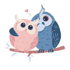 Two cute hugging owls in love. Colorful vector illustration for greeting cards, web and printing.