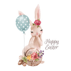 Cute hand drawn bunny with floral wreath, bouquet, flowers and tied bow in a basket with balloons