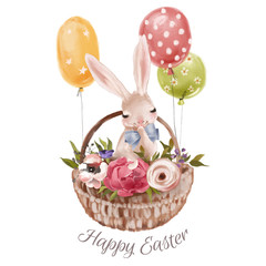 Cute hand drawn bunny with floral wreath, bouquet, flowers and tied bow with a basket