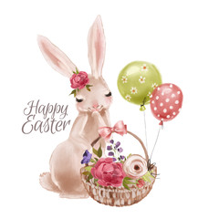 Cute hand drawn bunny with floral wreath, bouquet, flowers and tied bow with basket and balloons