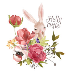 Cute hand drawn bunny with floral wreath, bouquet, flowers
