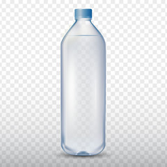 Mineral drinking water bottle on transparent background, vector illustration 3d