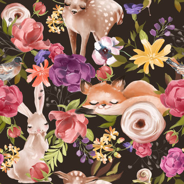 Seamless floral pattern, tileable pattern, textile, fashion background with woodland animals - deer, fox and bunny and flowers