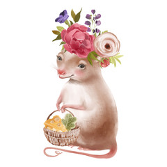 Cute hand drawn baby mouse keeping the basket with cheese, flowers, floral wreath, bouquet