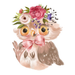 Cute hand drawn baby princess owl with floral wreath, bouquet, flowers and tied bow