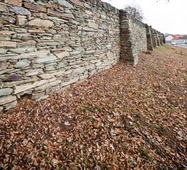 Historic stone wall with greenery. Historische Steinmauer mit Laub.