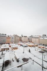 Schnee auf Marktplatz. Snow on market square.