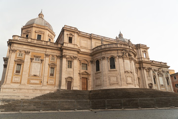 External façade of the apse on the north-west of the church of Santa Maria Maggiore (Basilica of Saint Mary Major) on Piazza dell'Esquilino in Rome, Italy