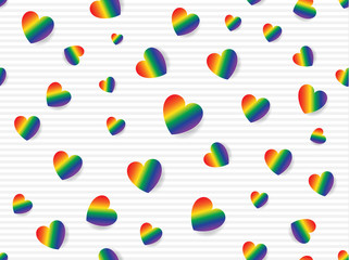 Flat lay of rainbow colored hearts scattered on light grey and white striped background. Seamless pattern vector illustration.