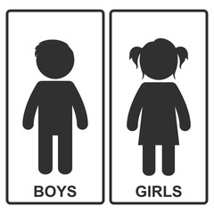 Boy and girl icon. Vector illustration.