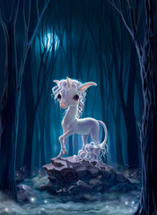 white unicorn on the background of the night forest