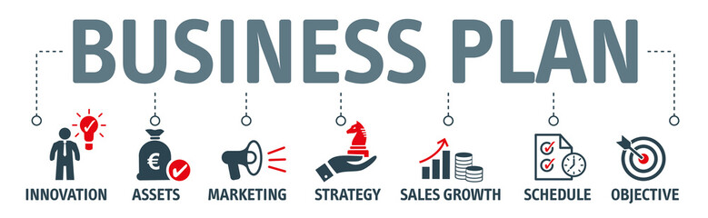 Banner business plan cvector illustration oncept - fototapety na wymiar