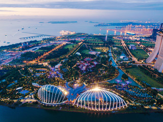 Supertree Grove. Garden by the bay in Marina Bay area in Singapore City. Aerial view at night. Fototapete