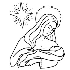 Holy Family and Christmas star. Theotokos and Infant Christ. Our Lady Maria and child Jesus on her hands. Birth. Nativity scene lovely sketch for holidays design, cards, festive invitations, birthday.