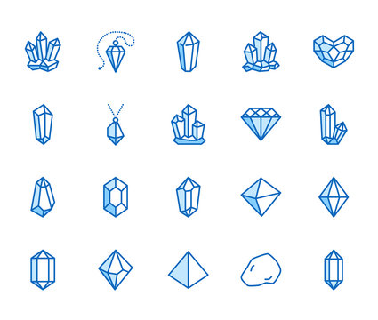 Crystals flat line icons set. Mineral rock, diamond shape, salt, abstract gemstone, magic crystal vector illustrations. Thin signs for geology or jewelry store. Pixel perfect 64x64. Editable Strokes