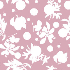 A seamless lemon, pear, cherry and pomegranate pattern on pink background.