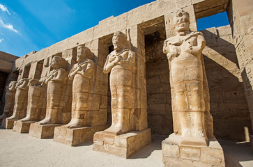 Large statues of Ramses 3rd at Karnak Temple in Luxor