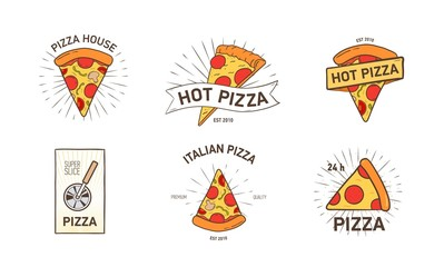 Bundle of colored logotypes with appetizing pizza slices, wheel cutter and rays hand drawn in retro style. Vector illustration for logo of Italian restaurant, pizzeria, food delivery service.