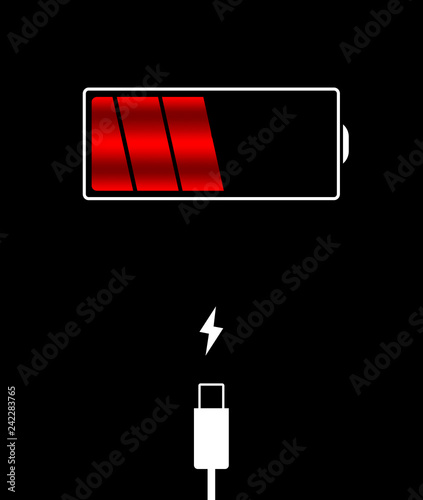 Battery status shows half full, battery is charged with