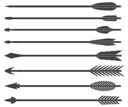 Arrows for bow. Set of vector illustrations isolated on white background.