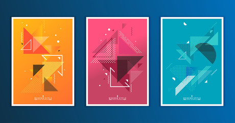 Abstract geometric composition forms modern background with decorative triangles and patterns backdrop vector illustration