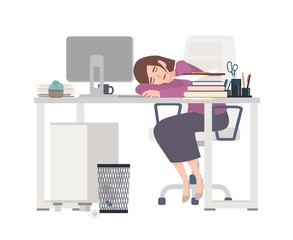Exhausted female office worker, manager or clerk sitting at desk covered with documents and sleeping. Tired young woman at work or workplace. Colorful vector illustration in flat cartoon style.