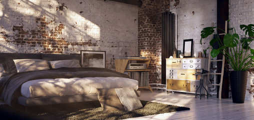 bed in old vintage loft apartment - 3d rendering