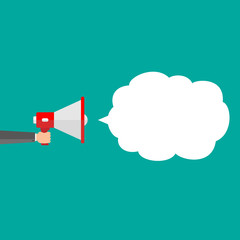 Megaphone with cloud of white speech bubble, Marketing concep