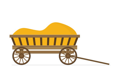 Flat illustration of wooden cart vector