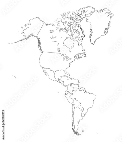 Map Of America Outline.Outline Map Of Americas Stock Image And Royalty Free Vector