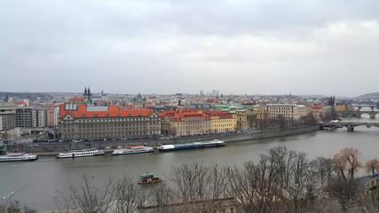Beautiful view on the Vltava river of Prague, Czech Republic