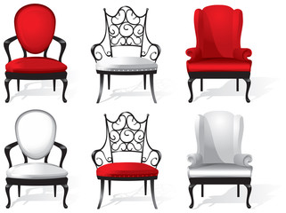 A set of red and white armchairs. Vector