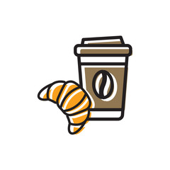 Cofee and croissant icon