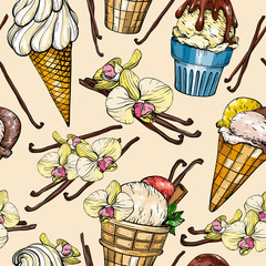 Seamless pattern with ice cream and vanilla pods