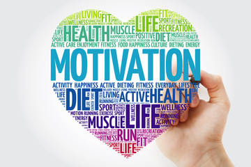 MOTIVATION heart word cloud with marker, fitness, sport, health concept