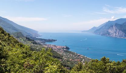 Beautiful mountain view. Monte Baldo, azure blue lago di garda and nature