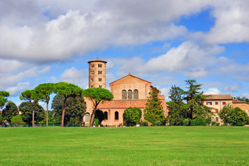 Italy, Ravenna Saint Apollinare in Classe Basilica with the round bell tower