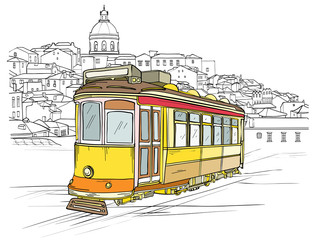 Traditional portuguese tram, Lisbon cityscape