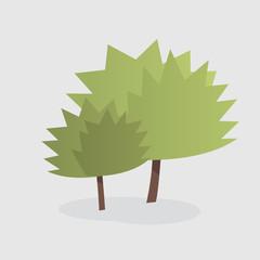 Cartoon illustration of two trees