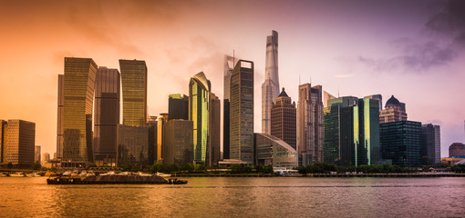 Long Exposure Skyline of Lujiazui Area in Shanghai City Before Sunset in Summer