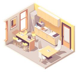 Vector isometric office break room