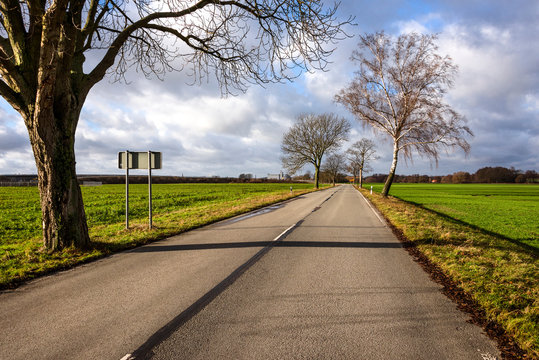 Germany: Panorama view of empty road with leafless trees, traffic sign, white median median strip, green fields and sunny blue cloudy sky in the background - concept street transport travel traffic